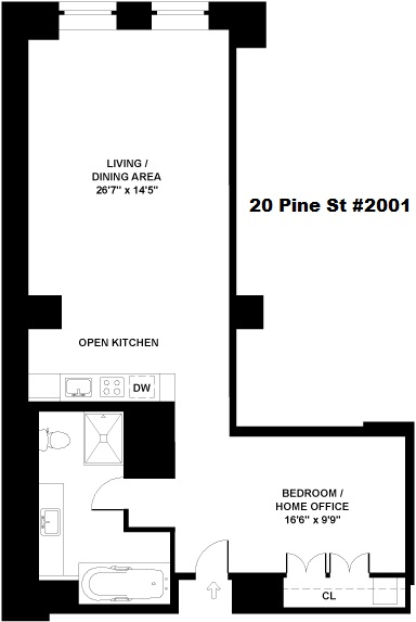 Floor plan of 20 Pine - The Collection, 20 Pine St, 2001 - Financial District, New York