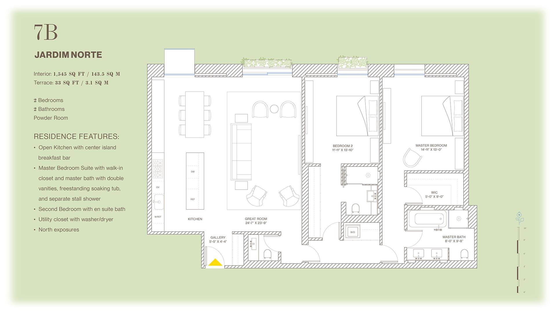 Floor plan of Jardim, 527 West 27th St, 7B - Chelsea, New York