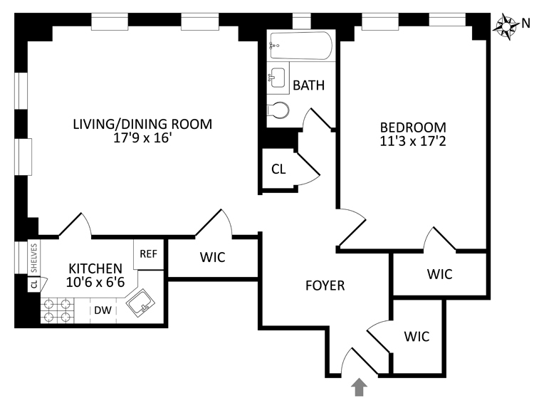 Floor plan of LONDON TERRACE TOWERS, 470 West 24th Street, 11B - Chelsea, New York