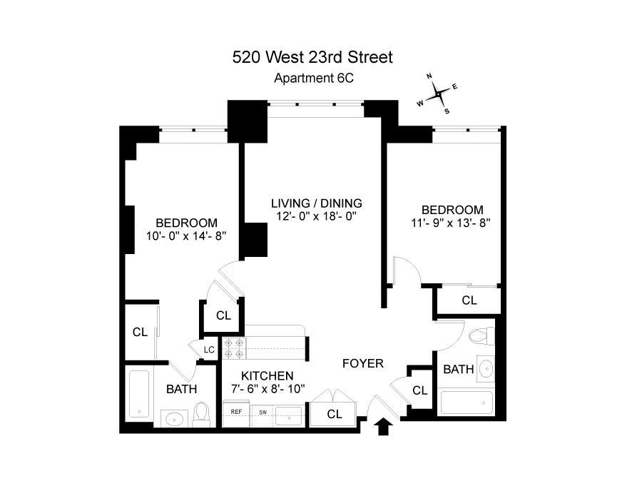 Floor plan of 520 West 23rd St, 6C - Chelsea, New York