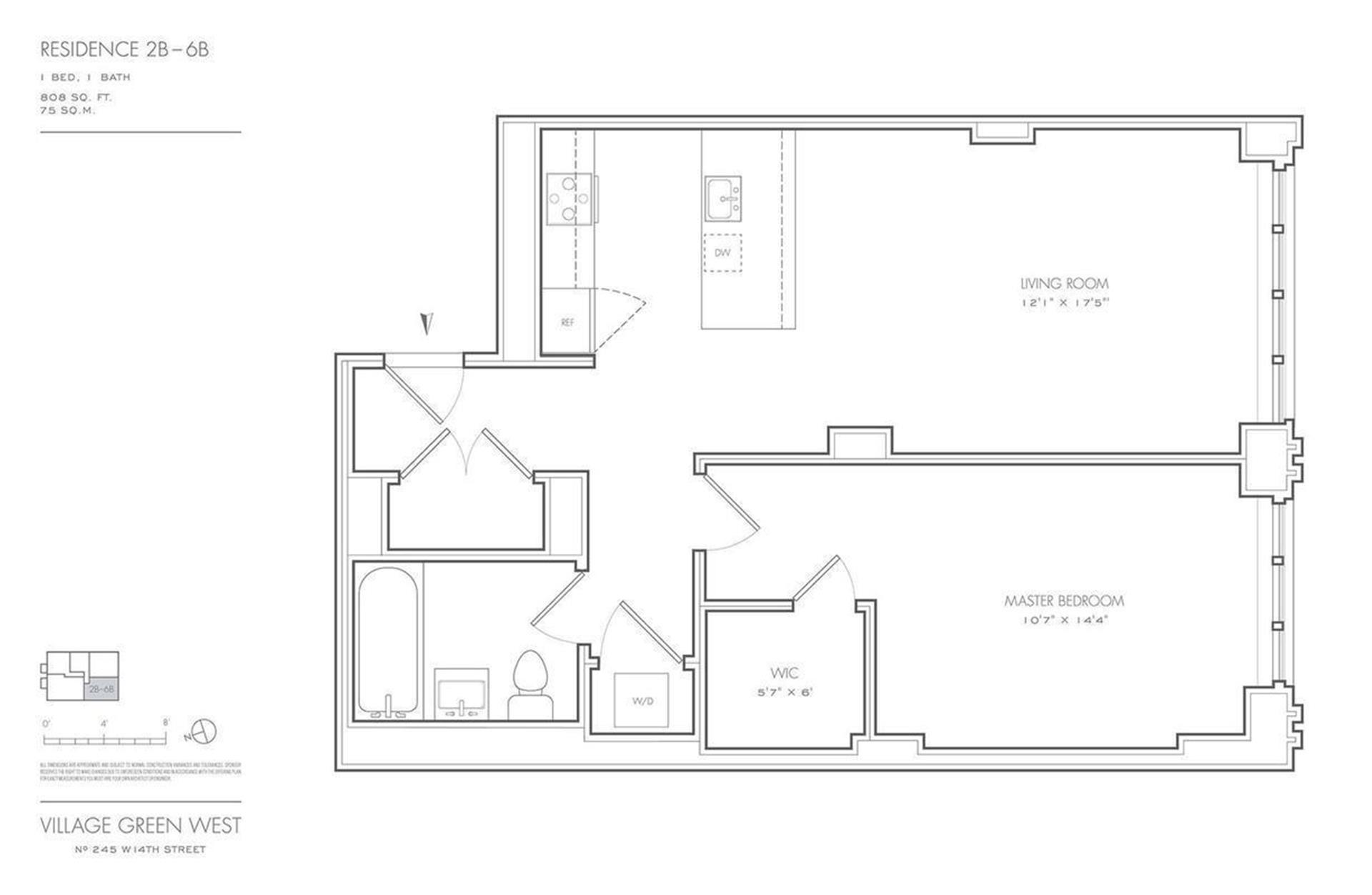 Floor plan of Village Green West, 245 West 14th Street, 2B - Chelsea, New York