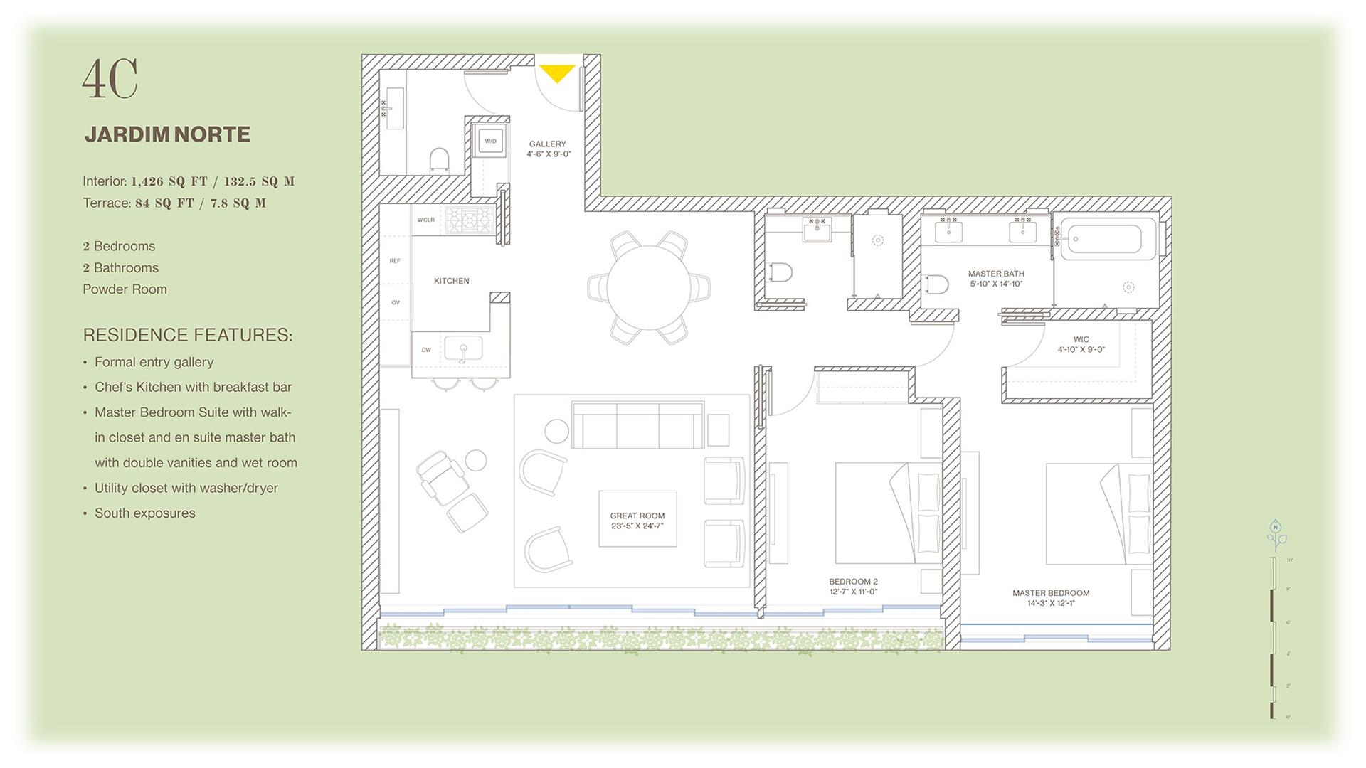 Floor plan of Jardim, 527 West 27th St, 4C - Chelsea, New York