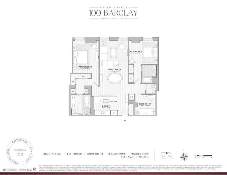 Floor plan of Ralph Walker Tribeca, 100 Barclay Street, 13D - TriBeCa, New York