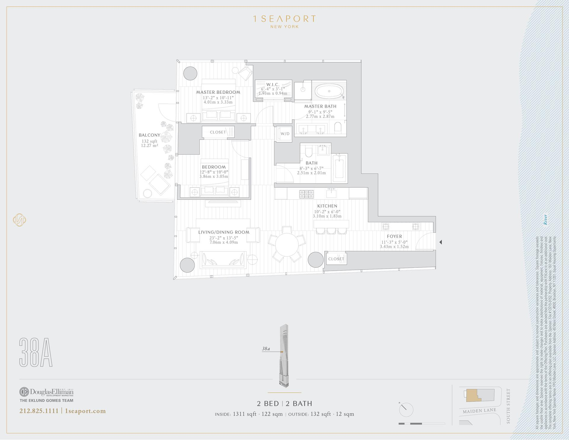 Floor plan of 1 Seaport, 161 Maiden Ln, 38A - Financial District, New York