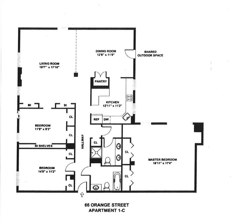 Floor plan of 66 Orange St, 1C - Brooklyn Heights, New York