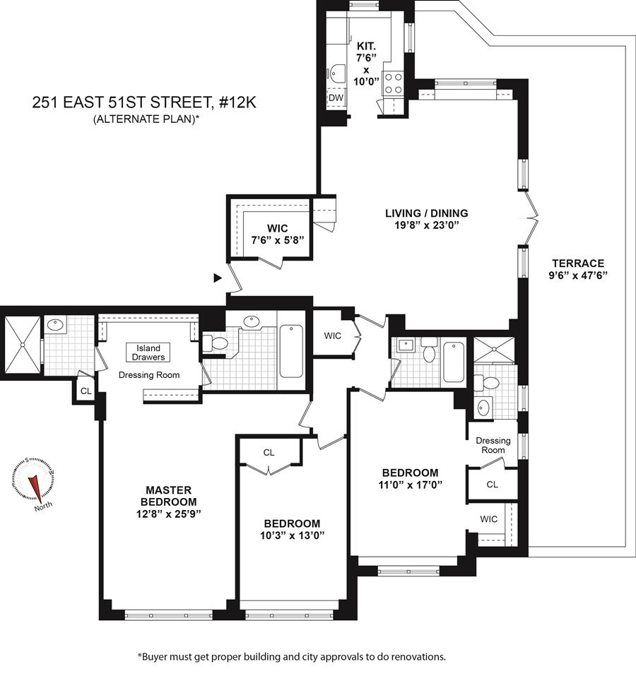 Floor plan of 251 East 51st St, 12M - Turtle Bay, New York