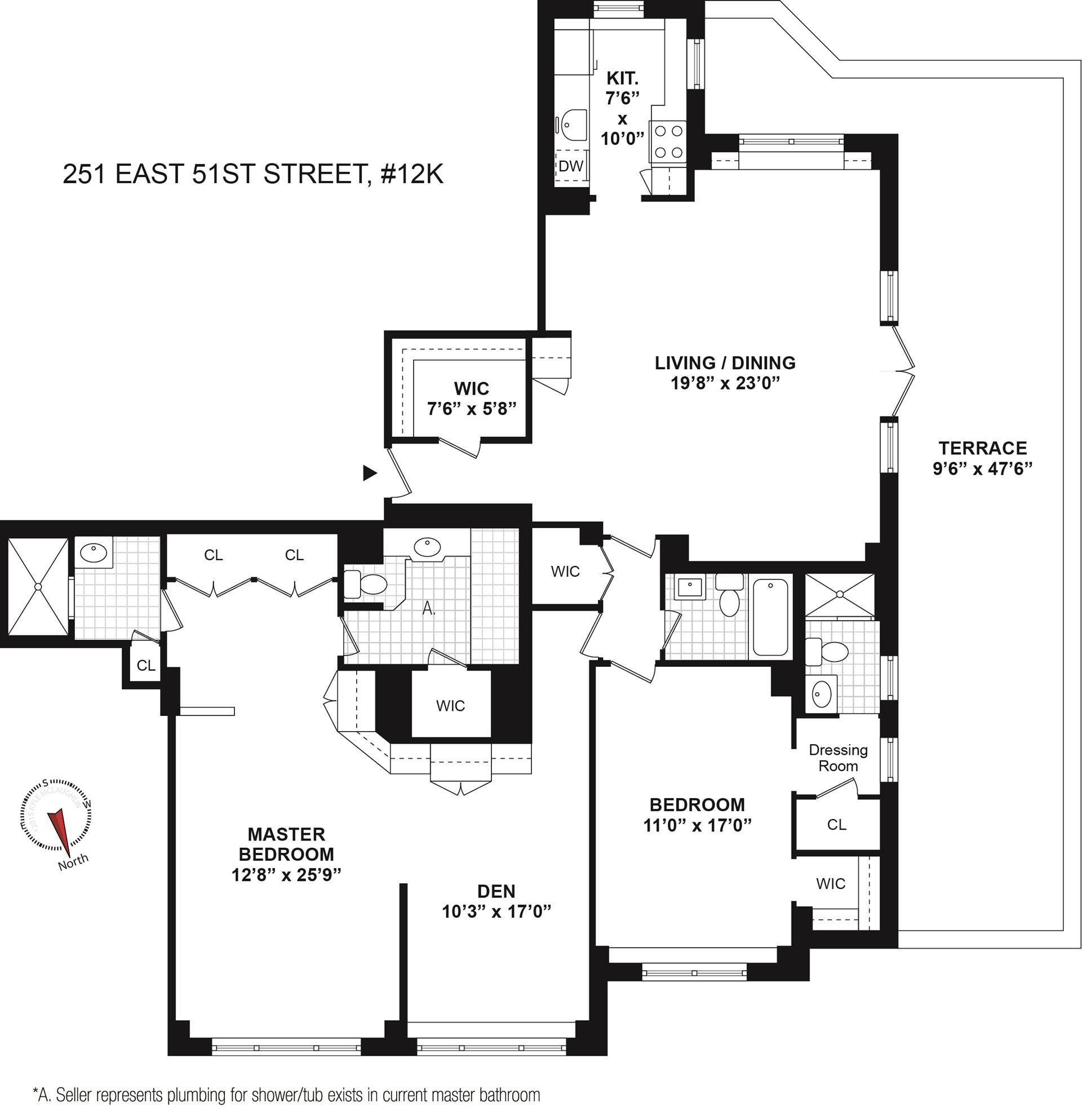 Floor plan of 251 East 51st St, 12M - Turtle Bay, New York