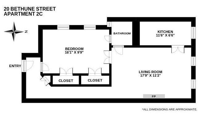 Floor plan of 20 Bethune St, 2C - West Village - Meatpacking District, New York