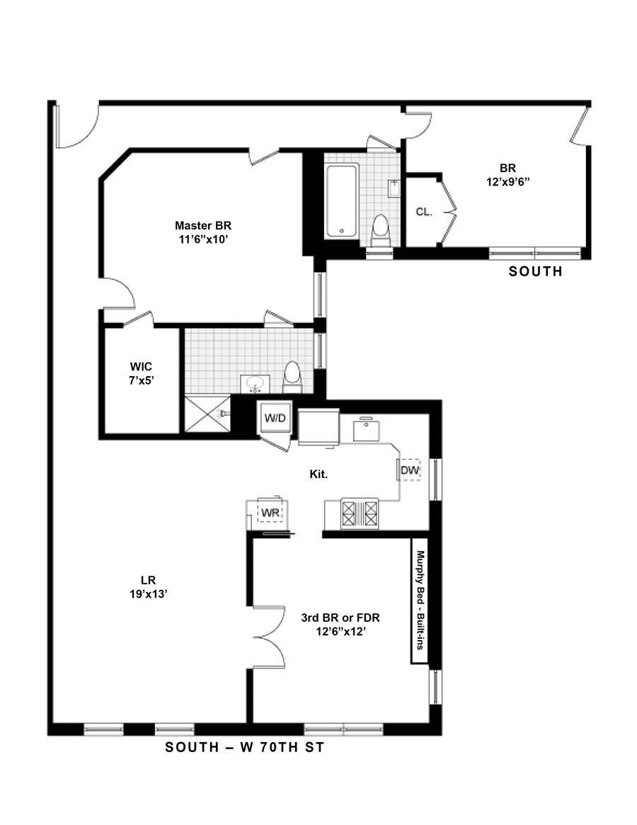 Floor plan of 345 West 70th Street, 2B - Upper West Side, New York