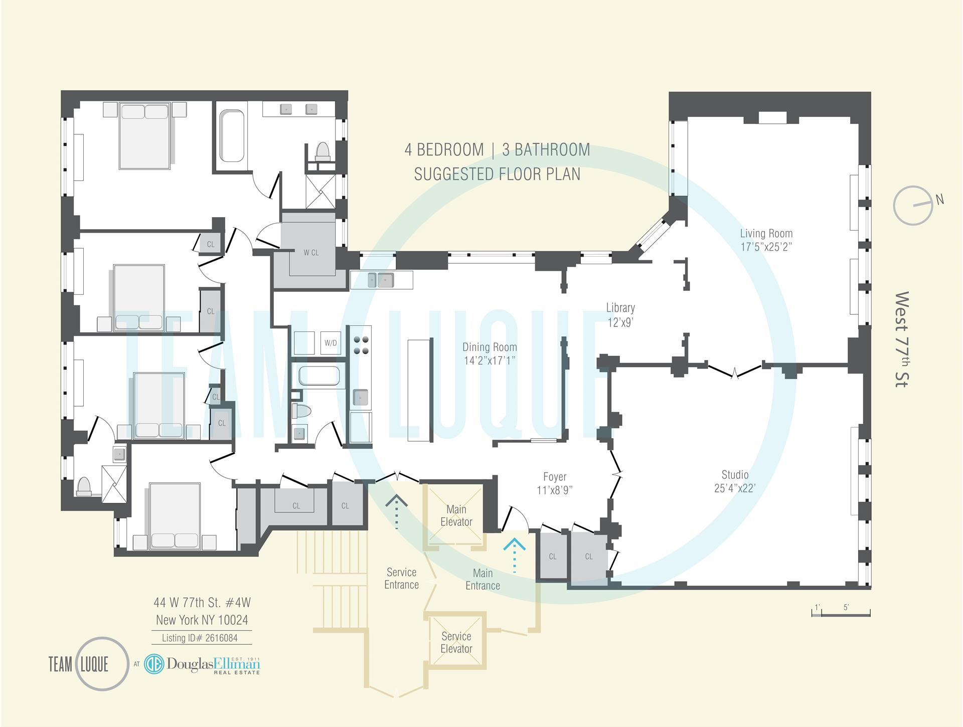 Floor plan of 44 West 77th St, 4W - Upper West Side, New York