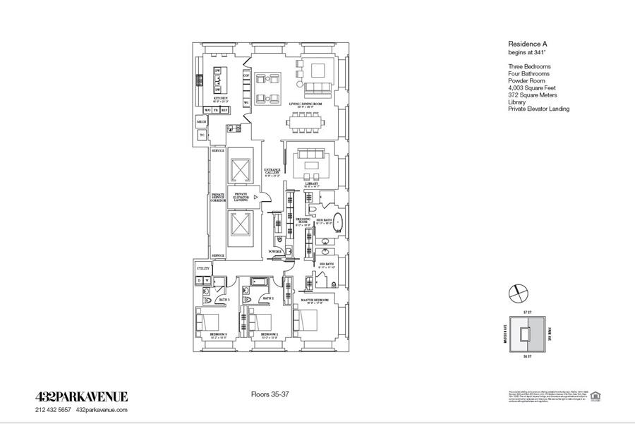 Floor plan of 432 Park Avenue, 37A - Midtown, New York