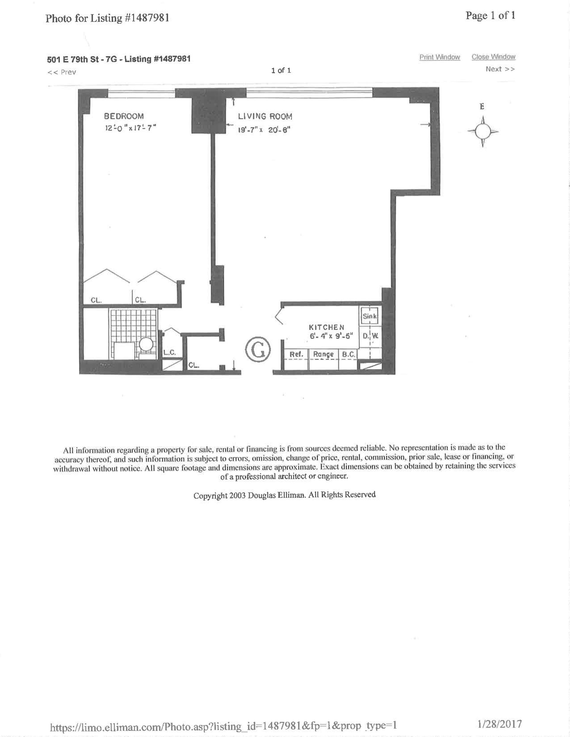 Floor plan of York Towers, 501 East 79th St, 7G - Upper East Side, New York