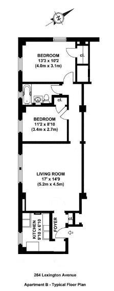 Floor plan of 264 Lexington Avenue, 4B - Murray Hill, New York
