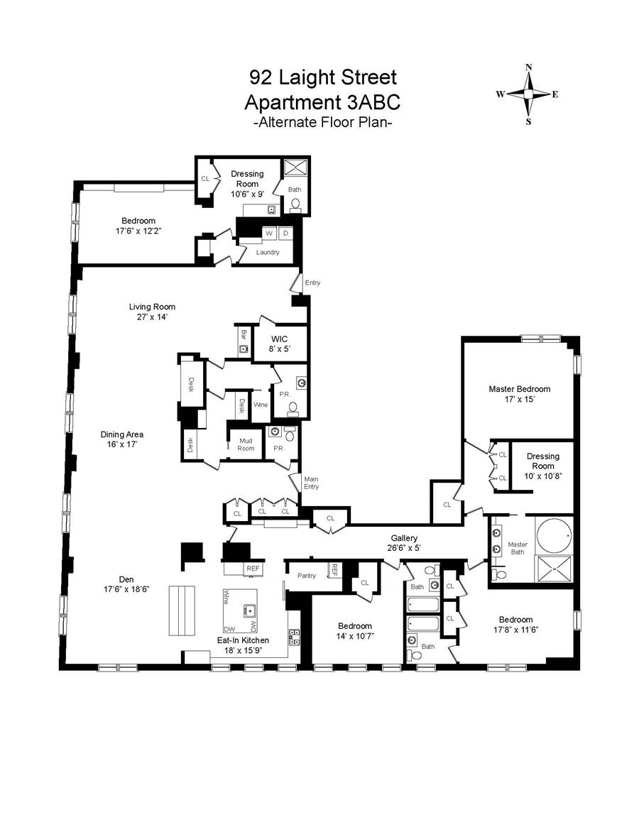 Floor plan of RIVER LOFTS, 92 Laight Street, 3A - TriBeCa, New York