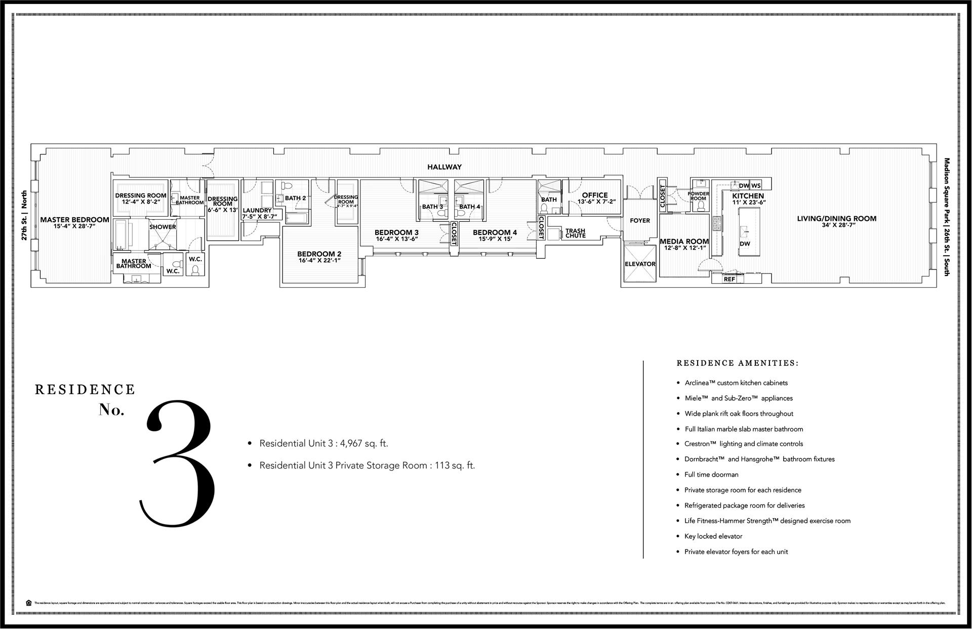 Floor plan of The Whitman, 21 East 26th Street, 3 - NoMad, New York
