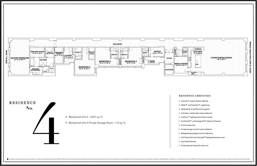 Floor plan of The Whitman, 21 East 26th Street, 4 - Flatiron District, New York