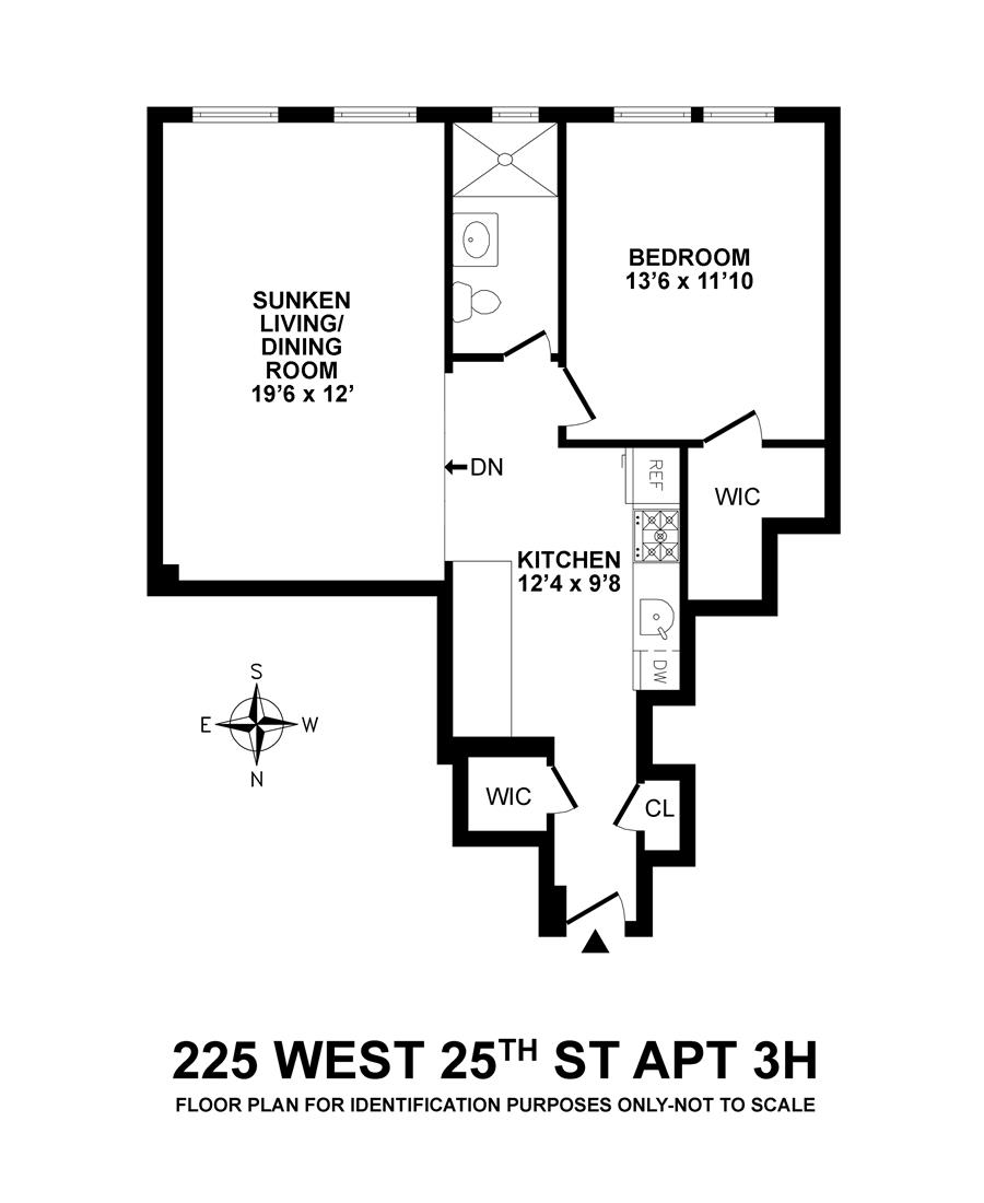 Floor plan of 225-25 ASSOCIATES, 225 West 25th St, 3H - Chelsea, New York