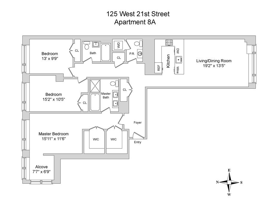 Floor plan of The Indigo Condominium, 125 West 21st St, 8A - Chelsea, New York