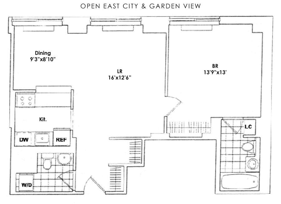 Floor plan of Trump Place, 200 Riverside Boulevard, 10H - Upper West Side, New York