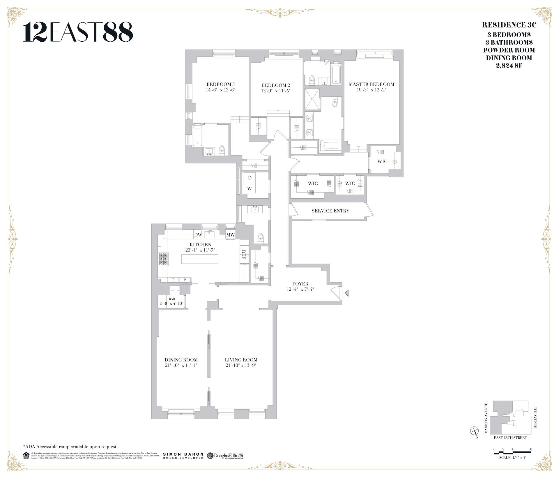 Floor plan of 12 East 88th St, 3C - Carnegie Hill, New York