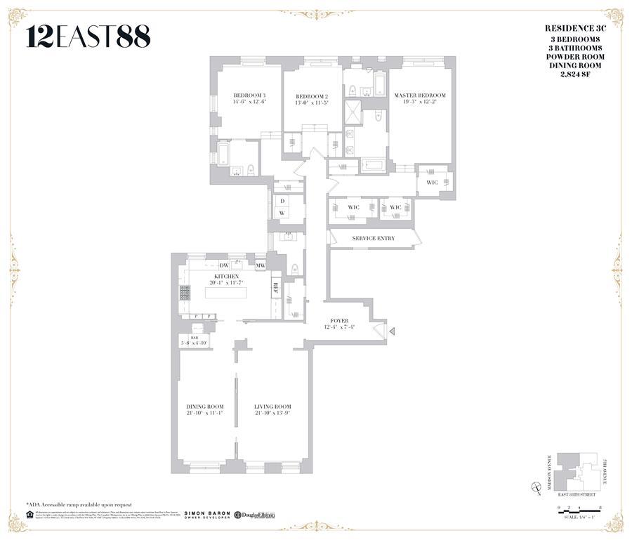 Floor plan of 12 East 88th St, 3C - Carnegie Hill, New York