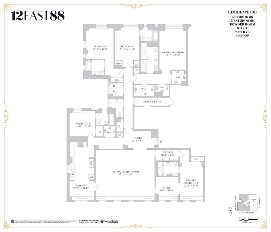 Floor plan of 12 East 88th St, 10B - Carnegie Hill, New York
