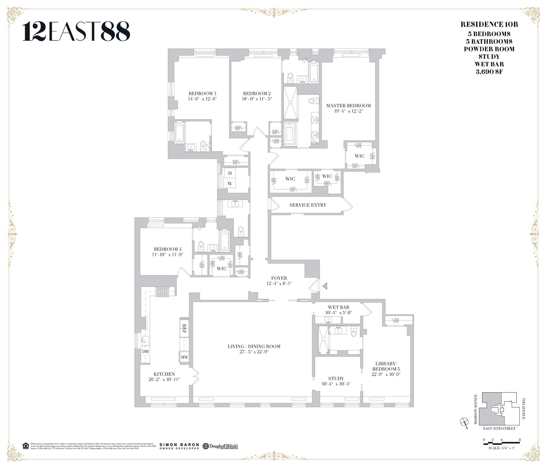 Floor plan of 12 East 88th St, 10B - Carnegie Hill, New York