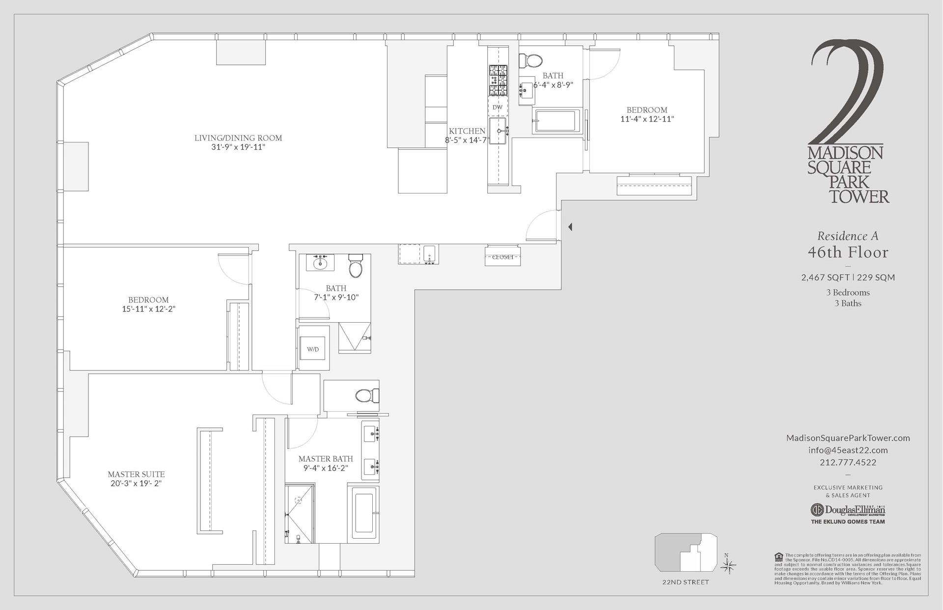 Floor plan of Madison Square Park Tower, 45 East 22nd St, 46A - Flatiron District, New York