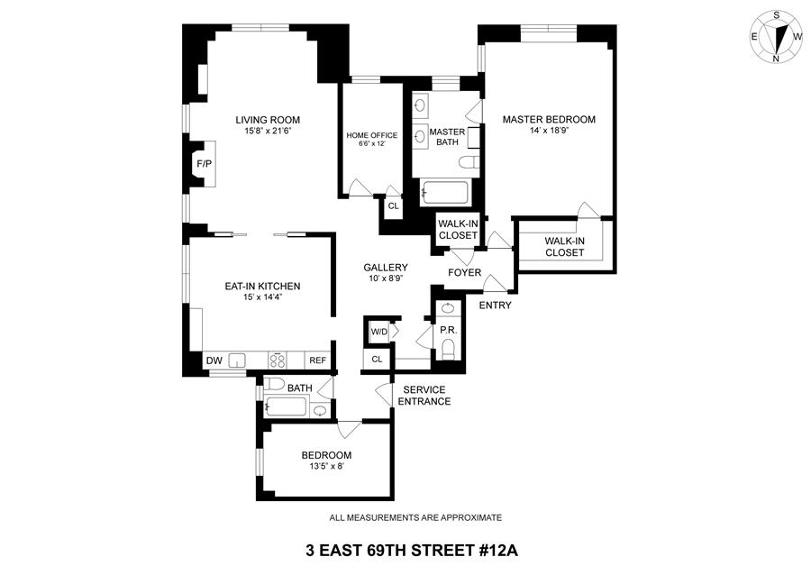 Floor plan of 3 East 69th St, 12A - Upper East Side, New York