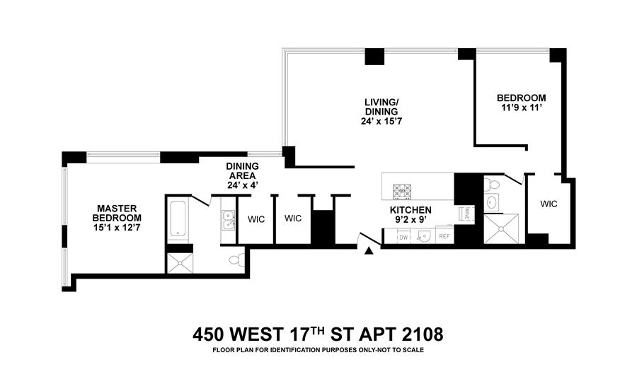 Floor plan of 450 West 17th Street, 2108 - Chelsea, New York