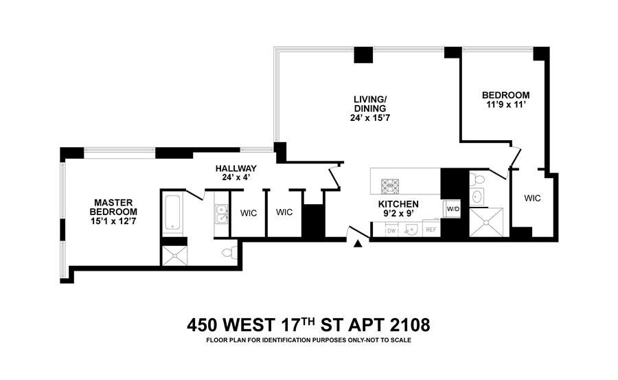 Floor plan of 450 West 17th St, 2108 - Chelsea, New York