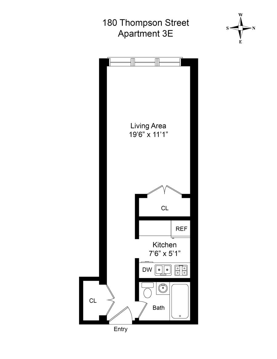 Floor plan of 180 Thompson St, 3E - Greenwich Village, New York