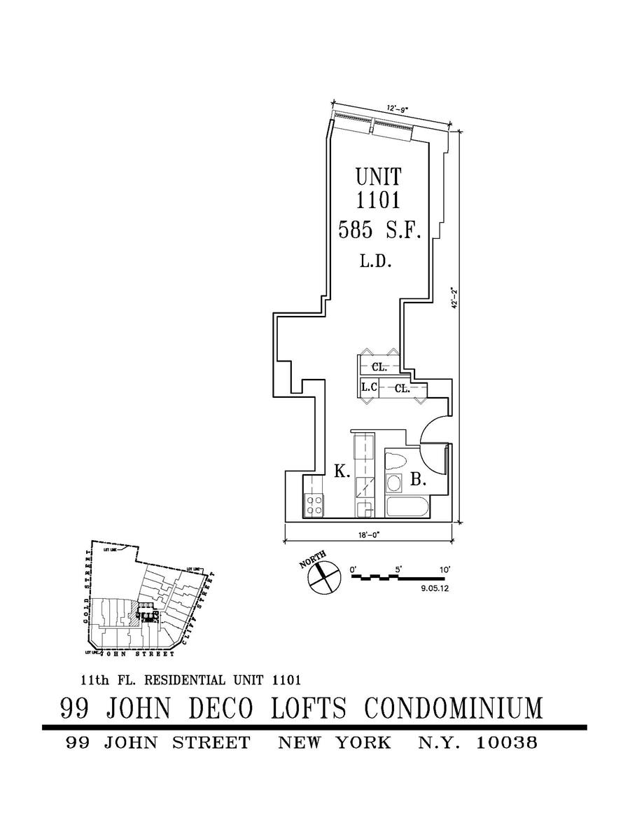 Floor plan of 99 John Street, 1101 - Financial District, New York