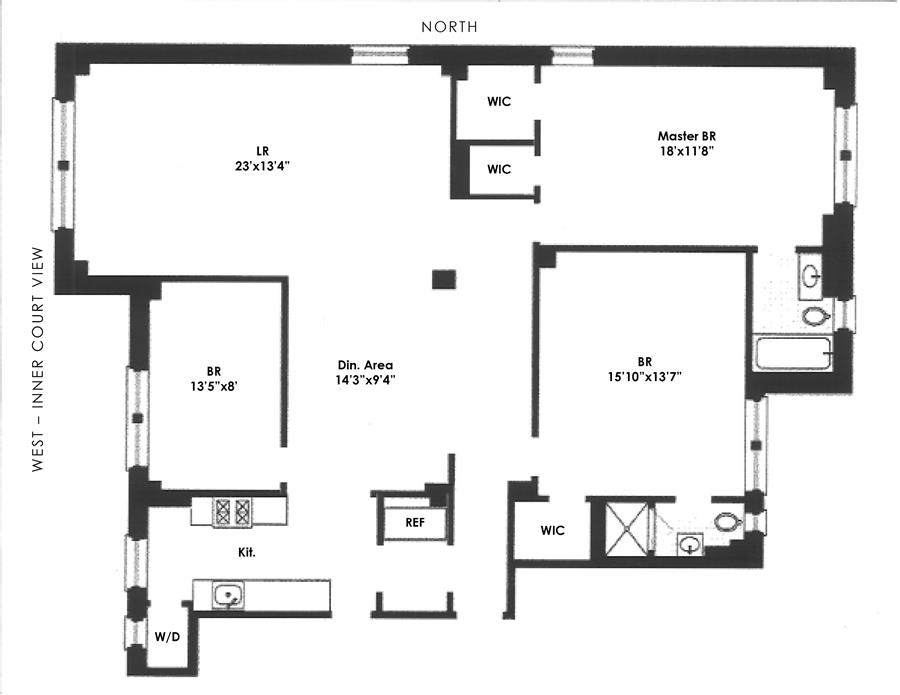 Floor plan of 90 Riverside Drive, 4C - Upper West Side, New York