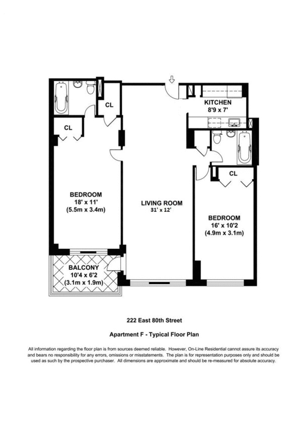 Floor plan of 222 East 80th St, 2F - Upper East Side, New York