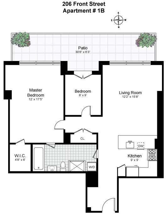 Floor plan of VISTA ON VINEGAR HILL, 206 Front Street, 1B - Dumbo, New York