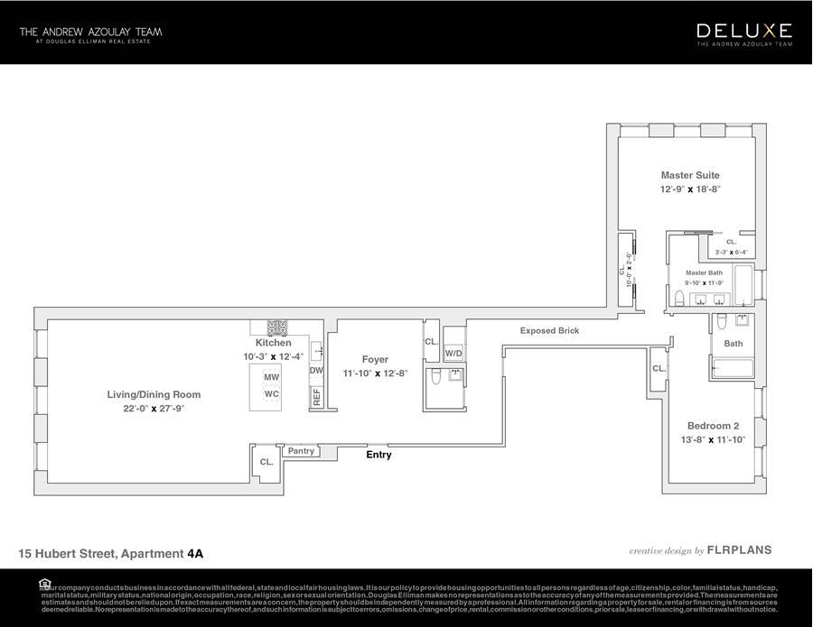 Floor plan of 15 Hubert Street, 4A - TriBeCa, New York