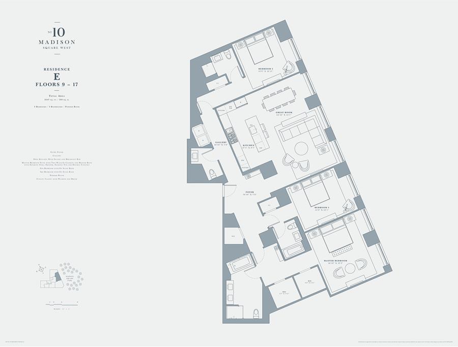 Floor plan of 10 Madison Square West, 17E - Flatiron District, New York