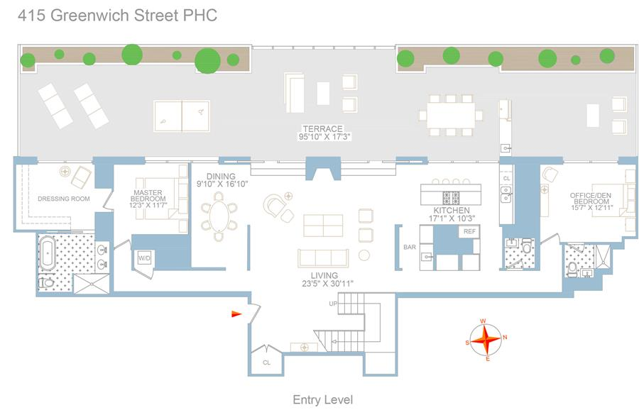 Floor plan of TRIBECA SUMMIT, 415 Greenwich St, PHC - TriBeCa, New York