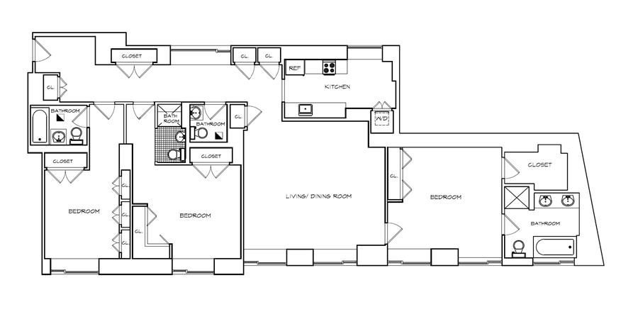 Floor plan of The Heritage, 240 Riverside Boulevard, 7ML - Upper West Side, New York