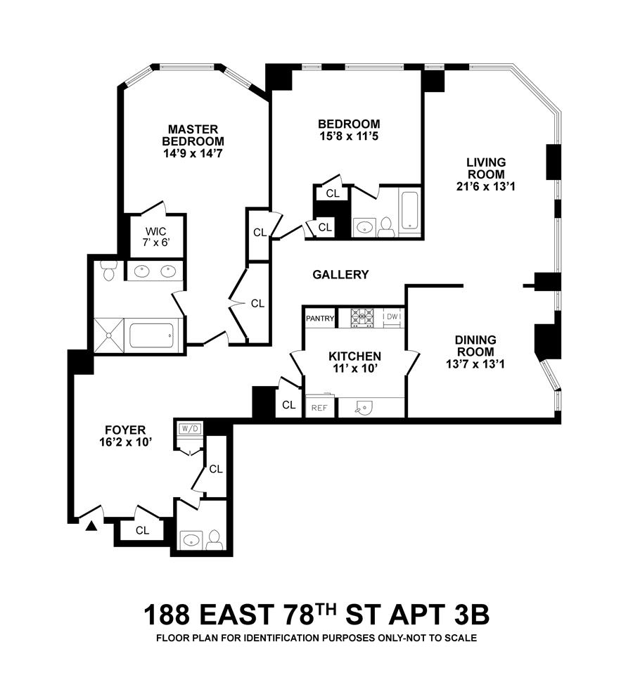 Floor plan of The Empire, 188 East 78th St, 3B - Upper East Side, New York