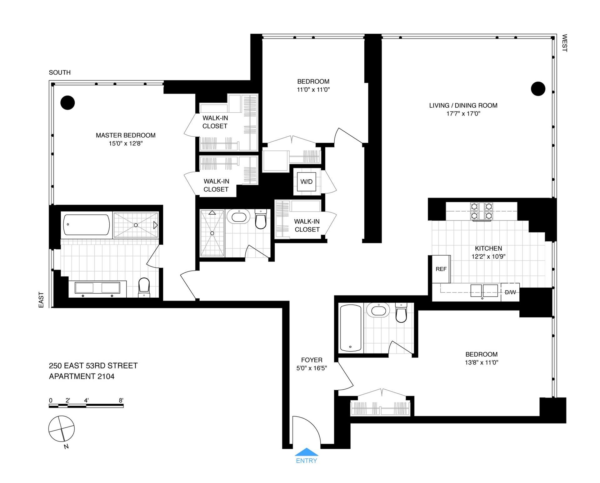 Floor plan of The Veneto, 250 East 53rd St, 2104 - Midtown, New York
