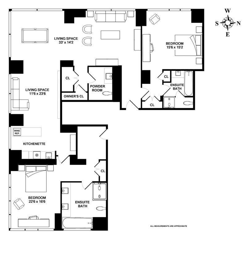 Floor plan of Trump Soho Hotel Condominium, 246 Spring Street, 3303 - SoHo - Nolita, New York