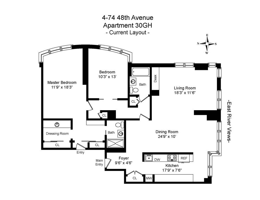 Floor plan of 4-74 48th Avenue, 30GH - Long Island City, New York