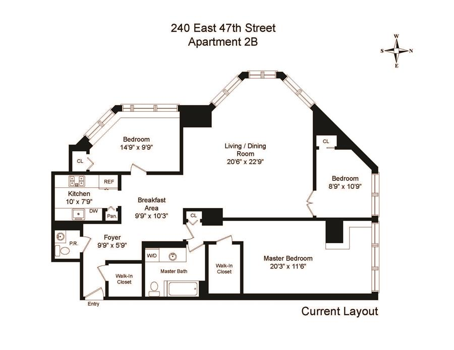 Floor plan of 240 East 47th St, 2B - Turtle Bay, New York