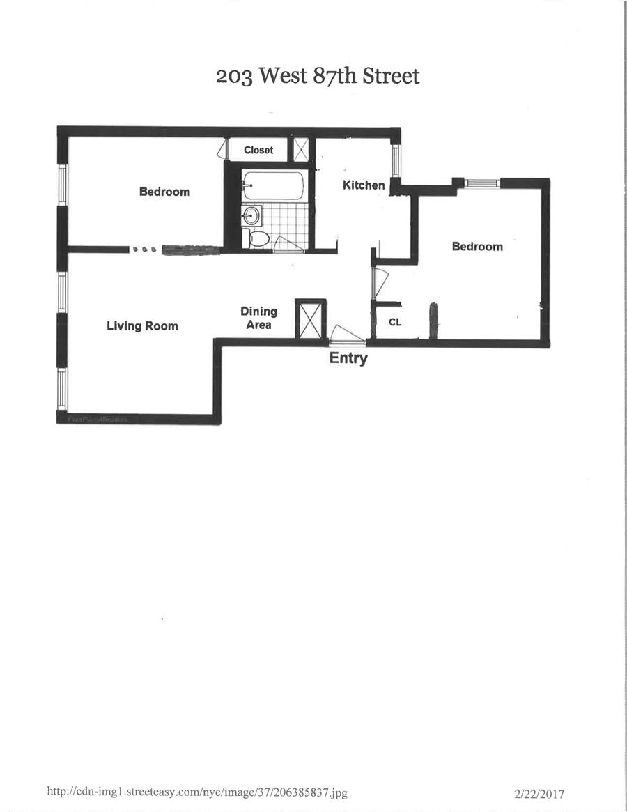 Floor plan of 203 West 87th St, 51 - Upper West Side, New York