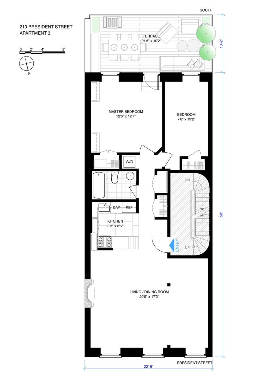 Floor plan of 210 President St, 3 - Carroll Gardens, New York