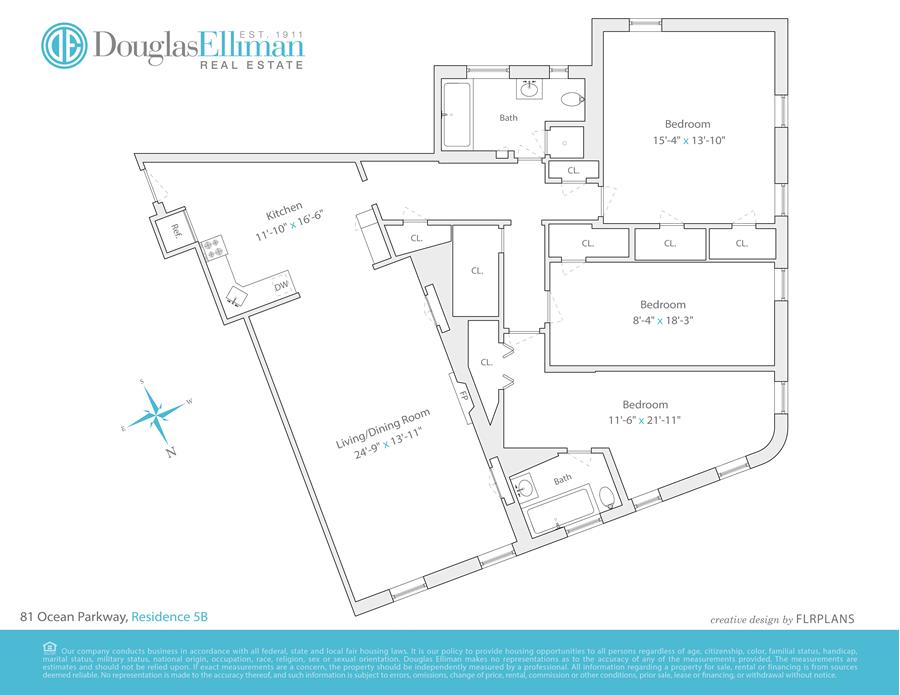 Floor plan of 81 Ocean Pkwy, 5B - Windsor Terrace, New York