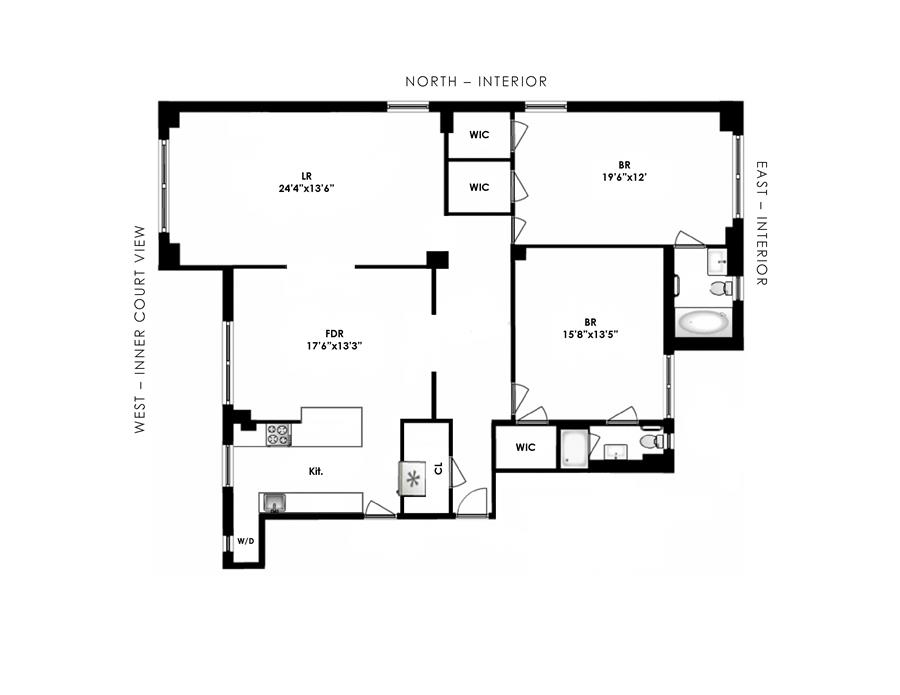 Floor plan of 90 Riverside Drive, 1C - Upper West Side, New York