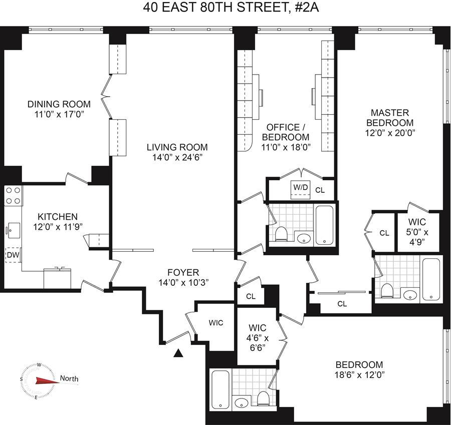 Floor plan of 40 East 80 Apartment Corp, 40 East 80th St, 2A - Upper East Side, New York